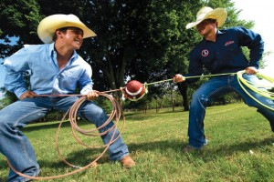 PULLING TOGETHER - Decatur's Chance Gasperson and Bridgeport's Kyle Parker were rivals on the football field, but they are teammates in the rodeo arena. Messenger photo by Joe Duty