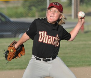 SPECIAL DELIVERY - Bridgeport Diamondbacks pitcher Jake Jordan winds up with a pitch during his team's victory over the Decatur Tigers Friday night. Messenger photo by Richard Greene
