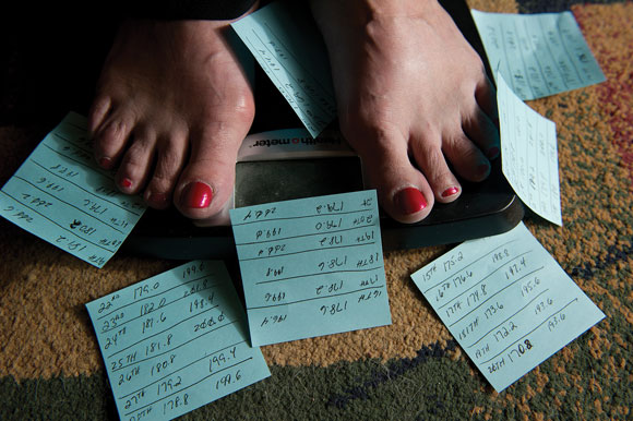 FREE FALL - The Dinglers keep track of their daily weight loss while on the HCG diet. Wes Dingler sometimes dropped more than 2 pounds per day on the controversial diet. Messenger photo by Joe Duty