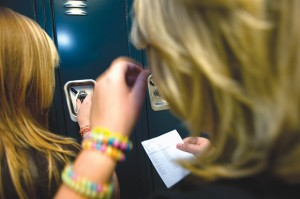 LOCKED OUT - The first day at Boyd's new high school featured many students using lockers for the first time. School administrators spent the first half of the day helping students enter their personal space. Messenger photo by Joe Duty