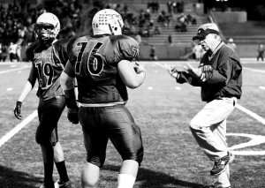 READY FOR ACTION - Boyd coach J.G. Cartwright gives directions to players during a playoff game. Cartwright has led the Yellowjackets to two state titles in his 33 years as head coach. Messenger photo by Joe Duty