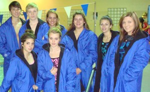 MAKING A SPLASH - The Decatur girls swim team took first Saturday at its first meet of the year. Boys swimmers Arin Blaylock and Logan Huff also had top-seven finishes. Competing were, front, Reagan Ralston, Kate Grant, back, Blaylock, Huff, Hayley Raasch, Katey Rowden, Haley Dennard and Baley Phariss. Submitted photo
