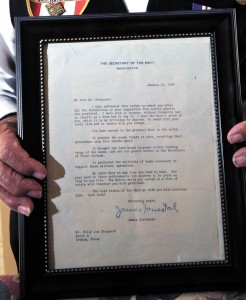 MEMORIES - The letter, written to Shepherd from Forrestal thanking Shepherd for his service in World War II, rates a prominent place of display in the vet's house south of Boonsville. Messenger photo by Joe Duty