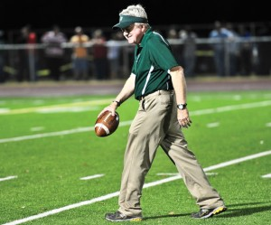 EXITING THE STAGE - After 35 years as the Boyd coach, J.G. Cartwright announced Monday that he will retire in June. The Yellowjackets' coach will retire with 274 wins, the 15th most in Texas high school football history. Messenger photo by Joe Duty