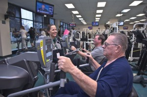 BACK ON BEAT - Susan Rector, manager of the cardiac rehabilitation program at Wise Regional Health System in Decatur, works with Jim Brown of Springtown (front) and John Conrad of Bridgeport. Messenger photo by Joe Duty