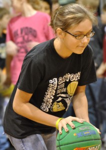 SHOOTING FOR A CAUSE - Macy Sugg of Alvord Elementary concentrates on making a basket during Hoops for Heart 2011. Submitted photo