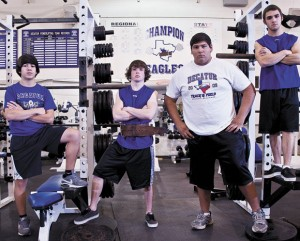 MUSCLE MEN - Decatur lifters Zack Ramirez, Nolan Newville, Raymond Cortez and Dillan Brown will compete Saturday at the Region VI Divsion II meet at Decatur High School. All four are looking to make return trips to the state meet. Messenger photo by Joe Duty