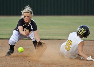 COMING UP SHORT -  Chico shortstop Molli Umphress stops a ball during the the Lady Dragons' 8-2 loss to Itasca Friday. Messenger photo by Joe Duty