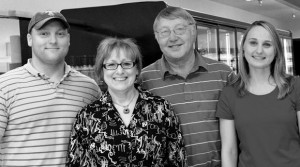 FAMILY AFFAIR - (left to right) the Shelton Family Jeremy, Margie, Gary and Suzanne has worked together in the grocery business since Gary and Margie purchased the Decatur store from Safeway in 1987 and immediately renamed it IGA Foodliner. Messenger photo by Joe Duty