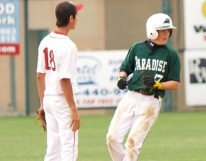 STANDING ON TWO - Paradise's Jarret Holt arrives at second base during the Panthers' loss to Melissa Saturday. Photo by Marcus Elliott