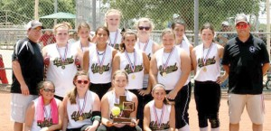 THE CHAMPS - The Alvord 14-and-under team won the ASA Class C District Tournament Sunday in Denton. The team included (bottom row) Ashton Peterson, Lindsey Abbott, Reagan Guthrie, Madison Espinoza (middle row) assistant coach CJ Peterson, Haley Roberds, LuLu Murillo, Emily Burdine, Kelsi McKelvain (back row) Valerie Martin, Cheyanne Dollins, Shelby Simmons, Claudia Godoy, Mikena Mader, head coach Larry Mader Jr. Submitted photo