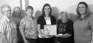4-H SCHOLAR - Jodie Wells of the Greenwood/Slidell 4-H club received the District 3 Thelma Wirges TEEA and the Greenwood Extension Education Club scholarships. On hand for the presentation were (from left) Joyce Enis, Gerry Galloway, Dixie Range, Wells, Bobbie Ashley and Linda Hood. Submitted photo
