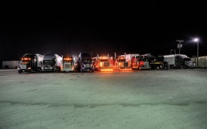 11 P.M. - The rumble of parked 18-wheelers overtakes the Golden Express Truck Stop. An area south of the store provides ample room for cross-country drivers to park and rest. Messenger photo by Joe Duty