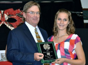 FARM BUREAU - Herb Williams presents Kara Demmitt of Chico 4-H with the Farm Bureau Award.