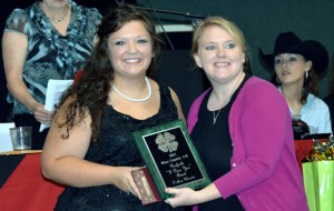I DARE YOU - Bailey Morris of Chico 4-H receives the Danforth I Dare You Award from 4-H Agent Chrissy Karrer (right).