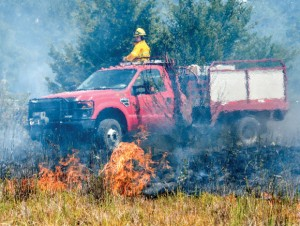 WILD FIRE - Firefighters from the U.S. Forest Service, Alvord, Chico, Lake Bridgeport, Bridgeport, Paradise, Greenwood/Slidell, Decatur, Sunset and Forestburg battled a 500-plus acre fire in the LBJ National Grasslands north of Alvord Monday. Messenger photo by Joe Duty
