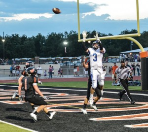 CLOSE - Decatur's Ben Blattner attempts to haul in a pass against Springtown, but falls short. Decatur seeks more time in the end zone this Friday. Messenger photo by Joe Duty