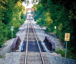 DISTORTED VIEW - It's difficult to judge the speed and proximity of an approaching train down the tracks. Messenger photo by Joe Duty