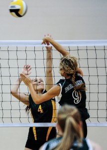 OVER THE TOP - Paradise&#039;s Courtney Kerr hits the ball past Boyd&#039;s Lindsay Pelligrini Thursday at the Chico Tournament. Messenger photo by Joe Duty