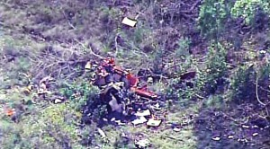 CRASH SITE - A Decatur man and two others were killed when a Robinson R44 helicopter crashed in Central Texas Thursday night. Photo courtesy of News 4 WOAI/woai.com