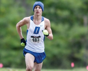 HANDLING THE COLD - Decatur's Taylor Clayton claimed first place at the Reunion Run Saturday. Messenger photo by Joe Duty