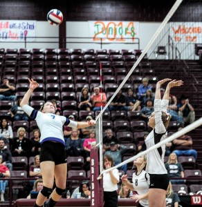 IN THE AIR - Decatur&#039;s Darci Billmire gets ready for the spike as Bridgeport&#039;s Maricah Clayton goes up for the block. Messenger photo by Joe Duty