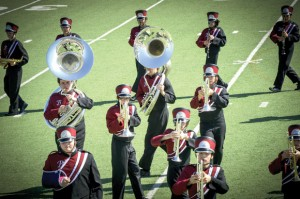 MARCHING IN TIME - Bridgeport&#039;s High School marching band takes to the field in competition in Denton Saturday. Messenger photo by Joe Duty