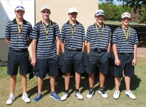 MEDAL WINNERS - The Decatur first team of Dylan Rottner, Drew Jones, Jansen Alker, Dylan Erwin and Cade Lamirand captured second place at Tanglewood Resort Monday. Submitted photo