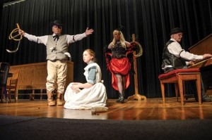 """OVERCOMING CHALLENGES - Ronnie Moore of Rhome as Snake Diamond, Morgan Hoover of Newark as Chloe Clod, Dana Goodwin-Gillock of Rhome as Delores Divine and James Taylor of Decatur on the piano will star in the Wise County Historical Society's rendition of """"The Shagwood Secret."""" The last performance is 7 p.m. Saturday at the Wise County Heritage Museum in Decatur. Messenger photo by Joe Duty"""