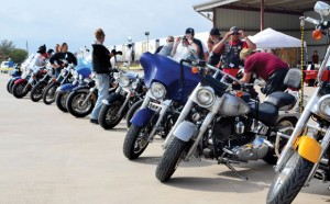 RIDING FOR A CAUSE - Entrants line up for the Justin Hunger Run Oct. 13. The event was put on by the Justin Civic Foundation to raise money for a senior center. Messenger photo by Mary Wendell
