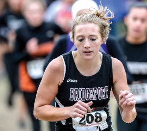 STRONG FINISH - Bridgeport's Lacey Erwin helped the Sissies to a fifth place finish. Erwin took 24th. Messenger photo by Joe Duty