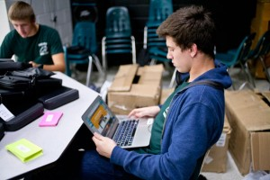 TECH SUPPORT - Sophomores Cash Preather (right) and Dillon Meadows are members of the iHelp Team at Paradise High School. Messenger photo by Jimmy Alford
