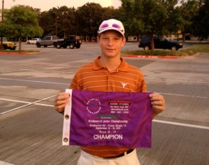 TOP SPOT - Drew Jones shows off the first place flag after winning the boys 12-14 division at the Bridlewood Junior Championships. Submitted photo