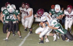 WRAP-UP - Paradise's Hayden Brown makes the tackle Friday against Whitesboro. Messenger photo by Mack Thweatt