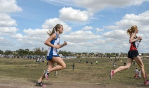 AGAINST THE WIND - Decatur's Nicole Neighbors runs in the windy conditions Saturday at the state meet in Round Rock. Messenger photo by Joe Duty
