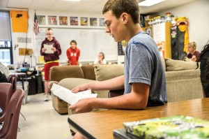 CAMPAIGNING - Bridgeport eighth grader Bryce Powers listens as classmate Nathaniel Strother reads his campaign speech in their English/language arts class Tuesday. Messenger photo by Joe Duty