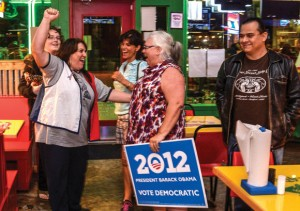 CELEBRATE TONIGHT - Tracy Smith along with several other Wise County Democrats shout for their candidate's re-election.