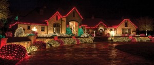 DAZZLING DISPLAY - Christmas lights highlight the landscaping at the home of James and Shirley Wood. Messenger photo by Joe Duty