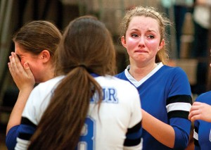 END OF THE ROAD - Stormi Leonard shows her emotion after Decatur's regional final loss to Argyle. Messenger photo by Jimmy Alford