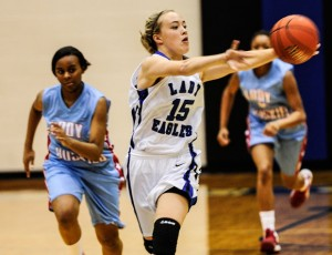 FAST BREAK - Decatur's Murphy Graham leads the fast break during the Lady Eagles' season-opening victory against WF Hirschi. Messenger photo by Joe Duty