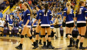 GOOD TIMES - Stormi Leonard celebrates Decatur's win in the second set Tuesday. The Lady Eagles advanced to the class 3A Regional Tournament with the victory. Messenger photo by Clay Corbett