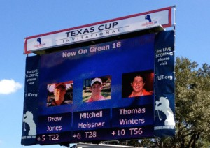 I'M ON TV - Drew Jones spotted himself on the video scoreboard on the 18th green while competing at the Texas Cup Invitational. Submitted photo