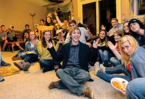 NOT EASY BEING GREEN - Matthew Britt, a 21-year-old Green Party candidate from Decatur, visits an election watch party at the home of Decatur High School teacher Della Stallard. Despite being a young, third party candidate, Britt managed to acquire more than 11 percent of the total votes in race for state representative of District 61. Messenger photo by Joe Duty