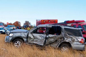 ROLLOVER - The passenger in this vehicle was injured after the SUV was struck by a pickup at a crossover on U.S. 81/287 north of Alvord Friday. Messenger photo by Jimmy Alford