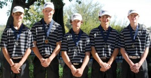 RUNNER-UP - Decatur's Drew Jones, Dylan Rottner, Jansen Alker, Cade Lamirand and Eric Gage took second place at the Sky Creek Golf Ranch Wednesday. Submitted photo