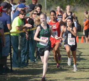 THE RACE IS ON - Emily Brinson or Paradise and Clara Breashears of Alvord head for the finish line at Saturday's Region 2AA Cross Country meet. Messenger photo by Mack Thweatt
