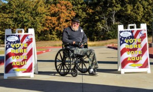 VETERAN SUPPORT - David Limme of Decatur cast his vote Tuesday morning for President Barack Obama. The Vietnam veteran said one of the reasons he supported the president was because he's bringing the troops home. Messenger photo by Joe Duty