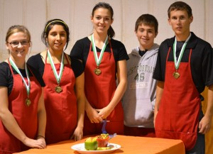 WINNING TEAM - Senior Food Challenge Team including (from left) Morgan Barnes, Marisol Millan, Caitlin Pruett, Shelby Vanover and Jessie Bowen placed first in the Senior Fruit and Vegetable category at the District 4-H Food Challenge last week. Submitted photo