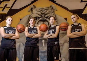 ALL BUSINESS - Alvord seniors Ariel Rogers, Sam Hahn, Carley King and Macy Pritchett look to make another successful district run. Messenger photo by Joe Duty