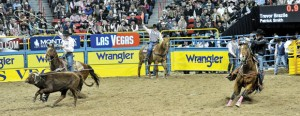 DOING IT AGAIN - Team ropers Patrick Smith (left) and Trevor Brazile, placed third in the fifth night of the Wrangler National Finals Rodeo in Las Vegas Monday. The money earned in those several seconds served as enough to give Brazile, of Decatur, his 10th all-around cowboy gold buckle. The pair also remains first in the team roping world standings. WNFR continues through Saturday and airs every night on GAC. Photo by Kirt Steinke/Western and Rodeo Images